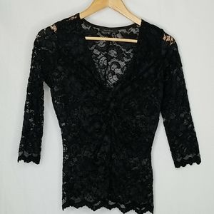 Karen Kane Fitted Lace Blouse. XS
